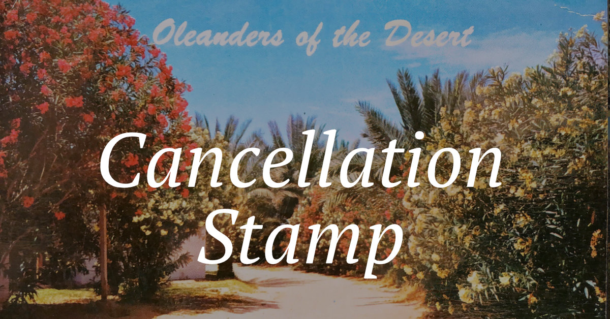 Cancellation Stamps & Oleanders on the Desert Postcard from Past Postcards